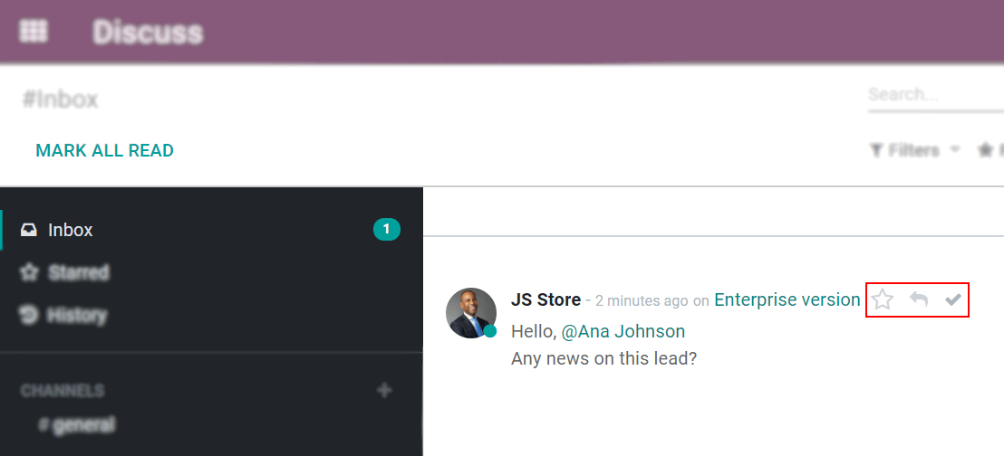 View of an inbox message and its action options in Odoo Discuss