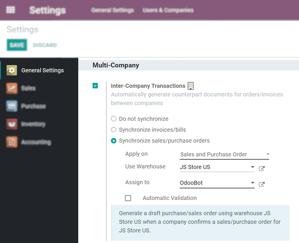 View of the settings page emphasizing the inter company transaction field in Odoo