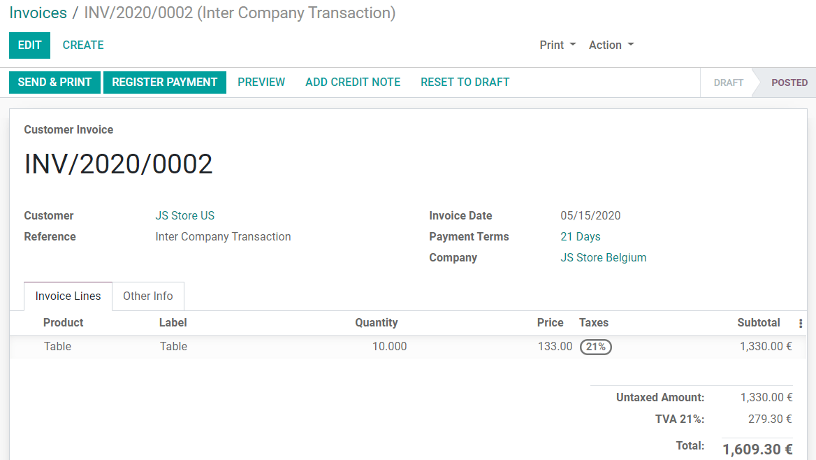 View of an invoice for JS Store US created on JS Store Belgium in Odoo