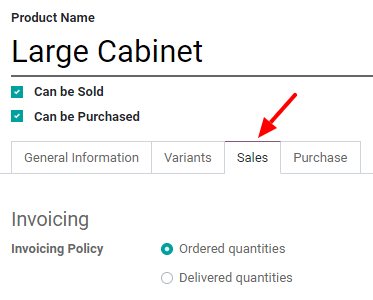 How to change your invoicing policy on a product form on Odoo Sales?