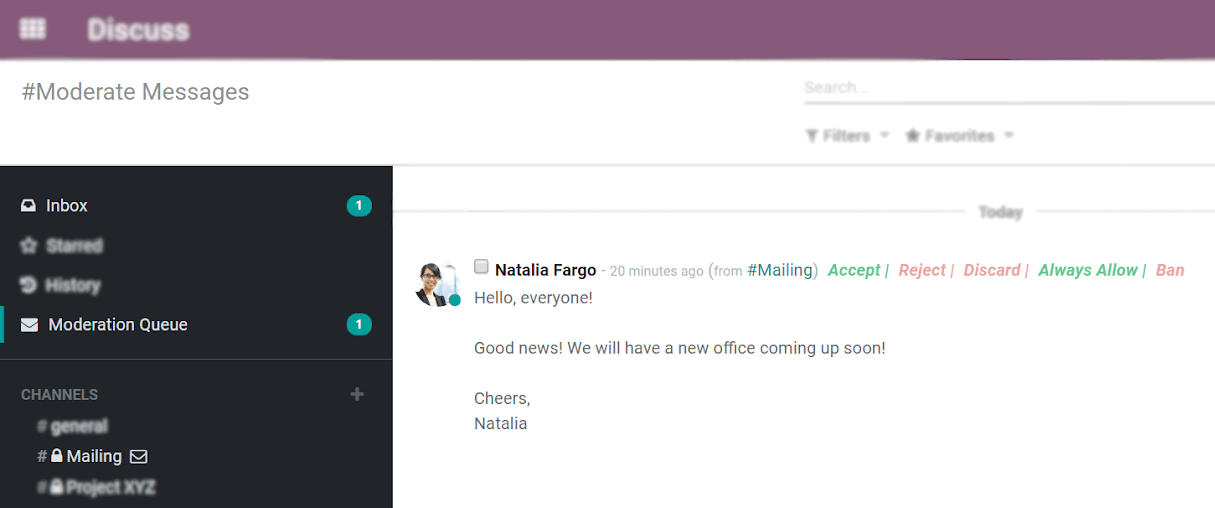 View of a message to be moderated in Odoo Discuss