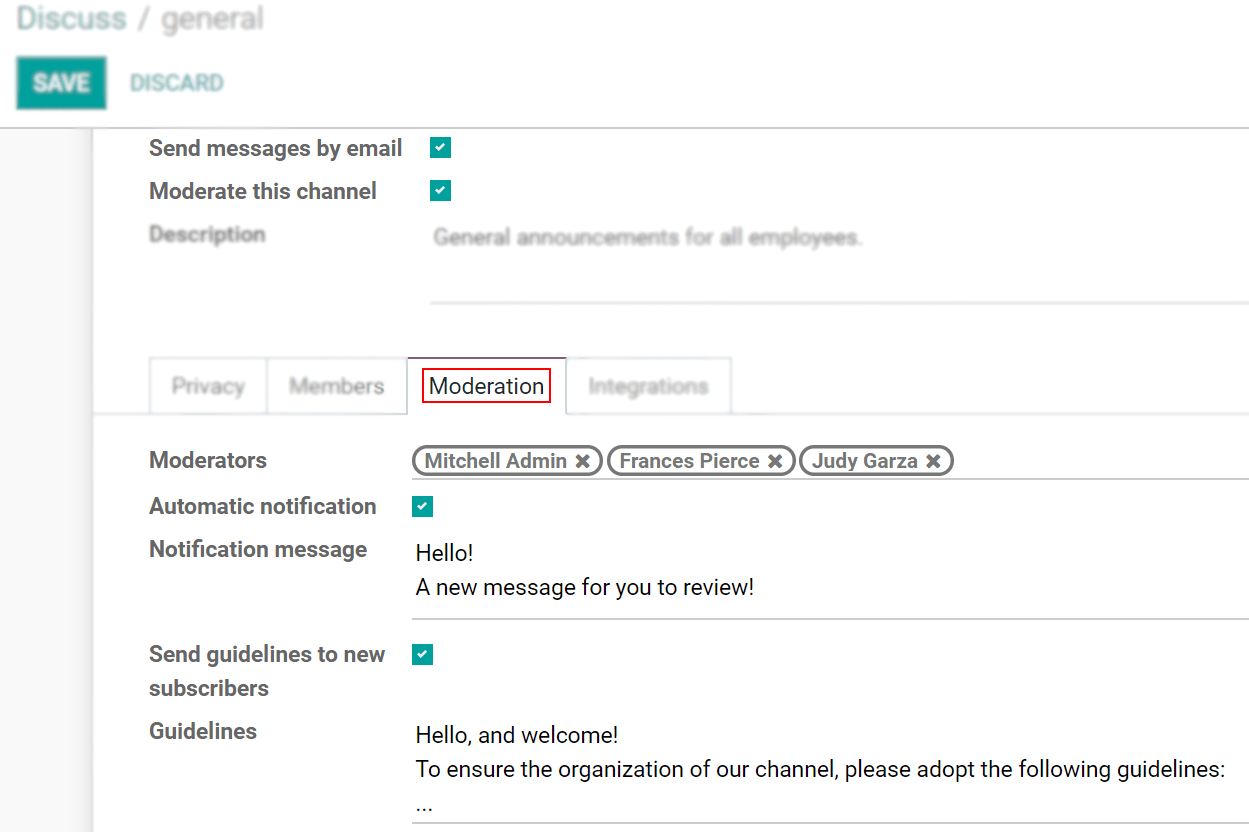 View of a channel's settings form emphasizing the tab moderation in Odoo Discuss