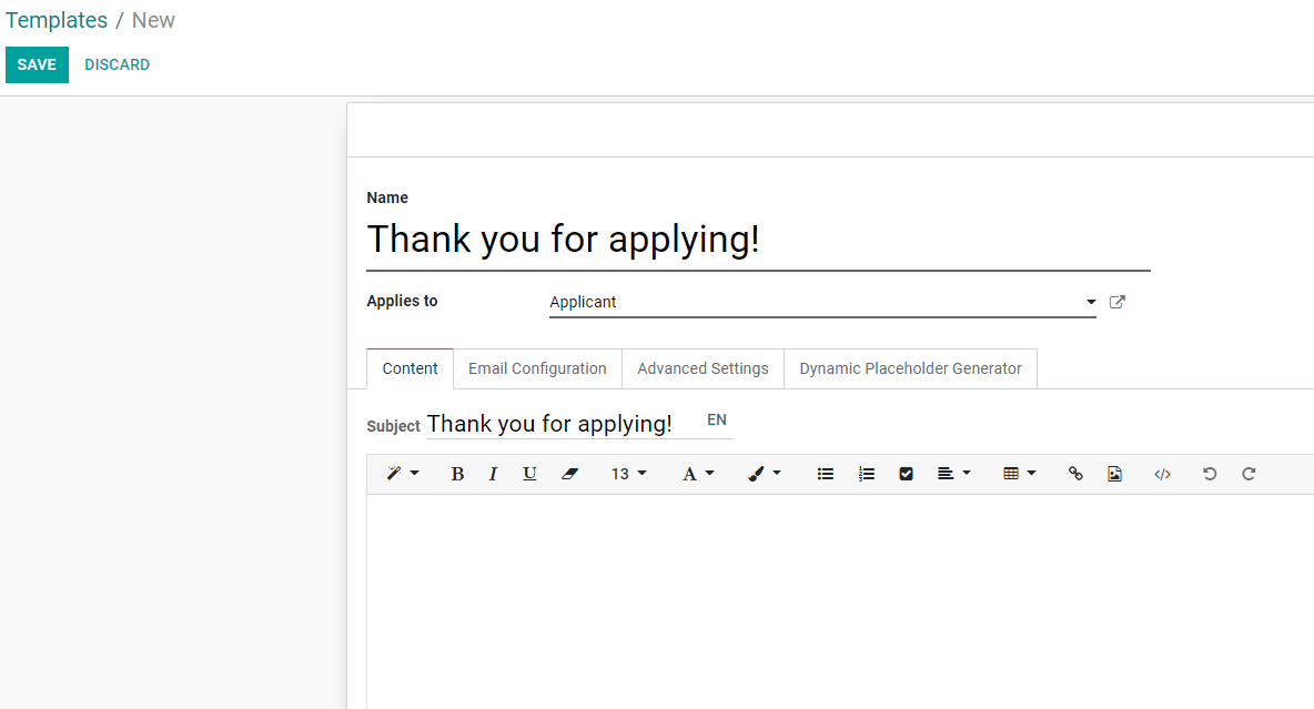 New email template form in Odoo