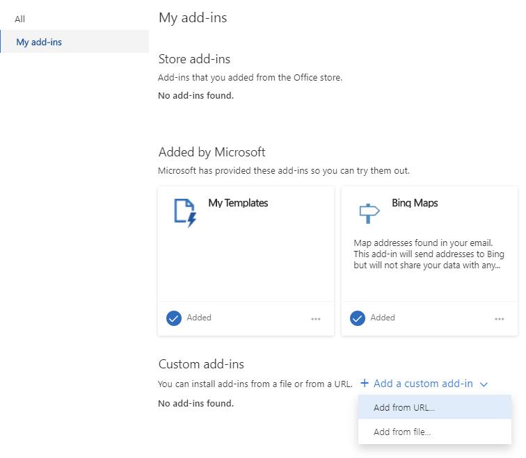 在Outlook中安装自定义加载项