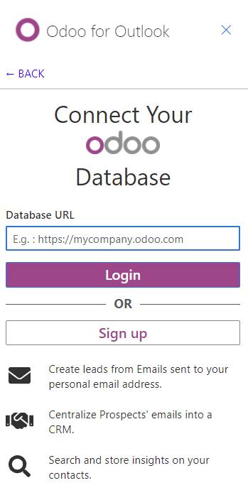 从Outlook扩展连接到Odoo数据库