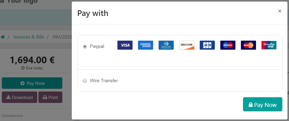 Pay online in the customer portal and select which payment acquirer to use.