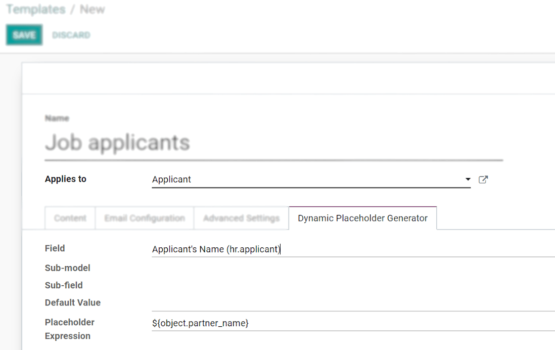 View of the dynamic placeholder generator tab under a new template in Odoo