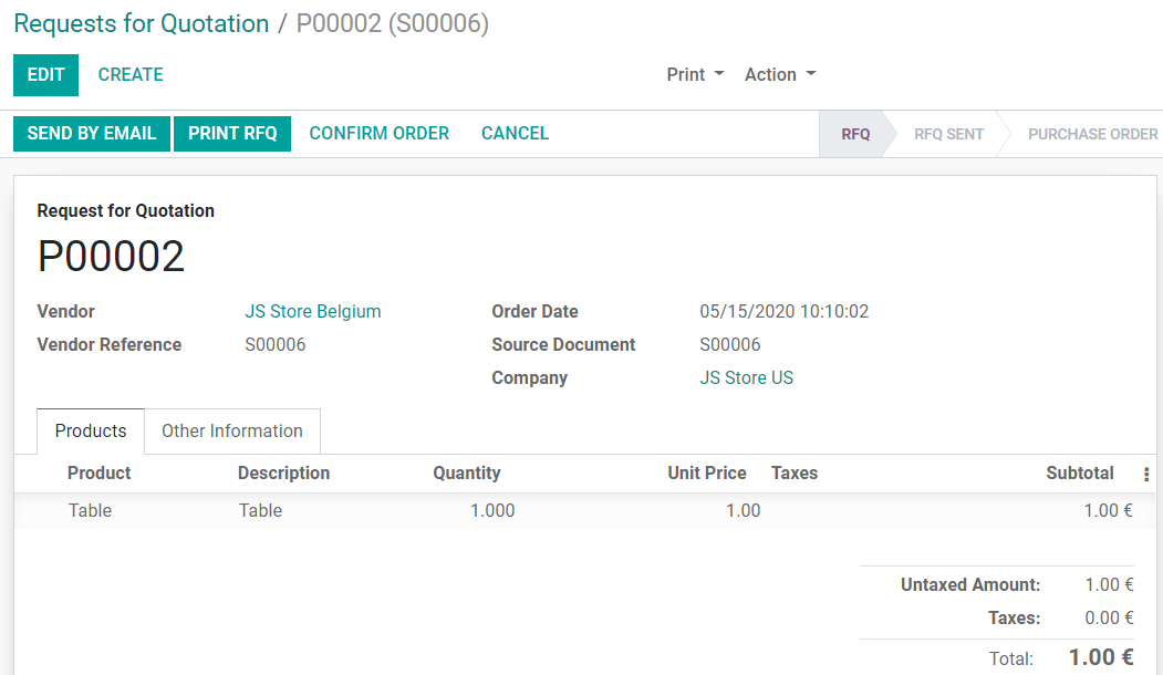 View of the purchase created on JS Store US from JS Store Belgium in Odoo