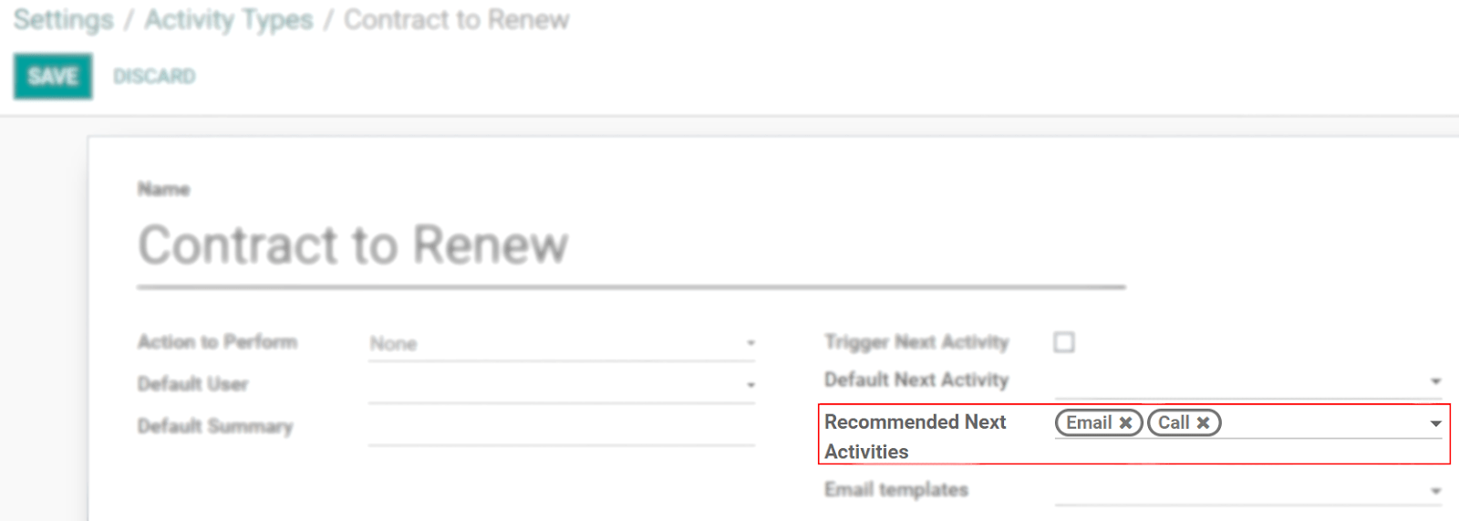 View of an activity type form emphasizing the field recommended next activities for Odoo Discuss