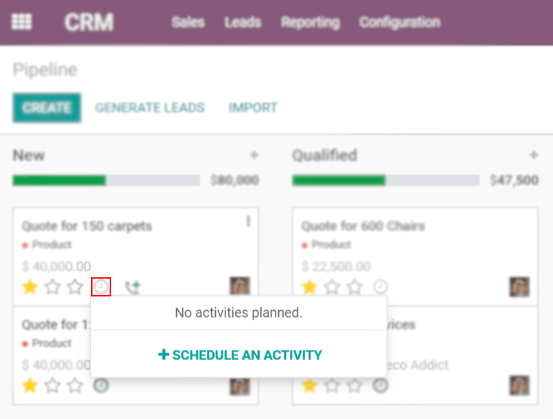 View of crm leads and the option to schedule an activity for Odoo Discuss