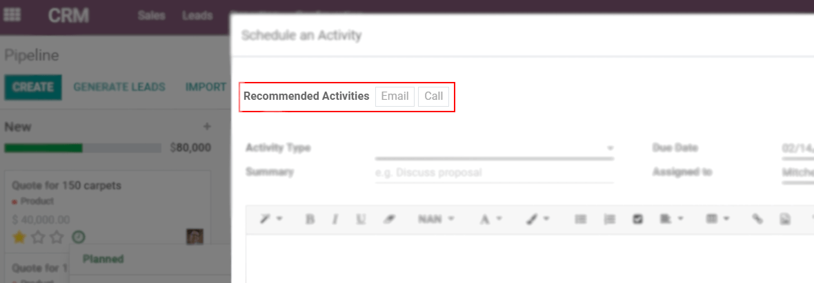 View of an activity being schedule emphasizing the recommended activities field being shown for Odoo Discuss