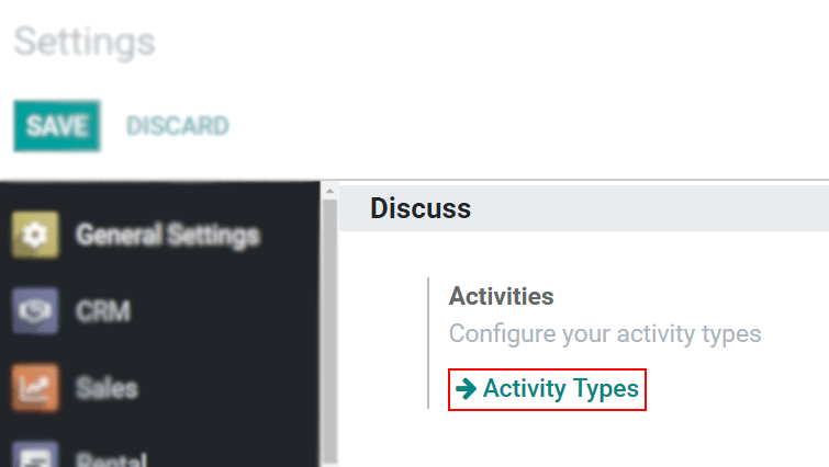 View of the settings page emphasizing the menu activity types for Odoo Discuss