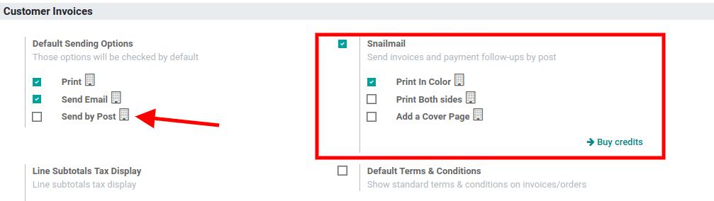 在设置下启用Odoo Accounting中的snailmail功能