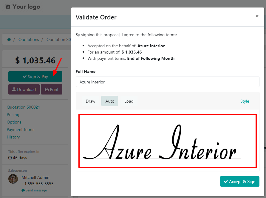 How to confirm an order with a signature on Odoo Sales?