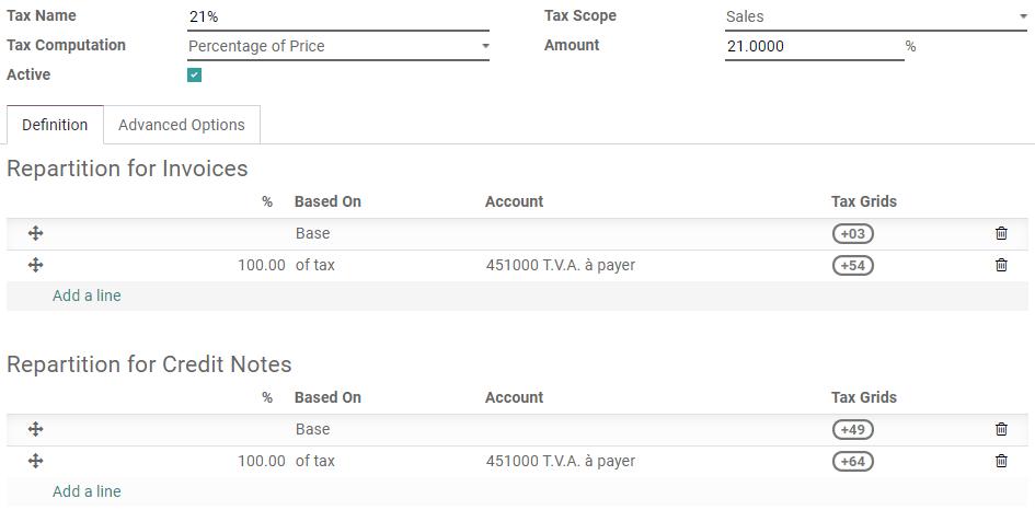 Odoo会计中的税收版本