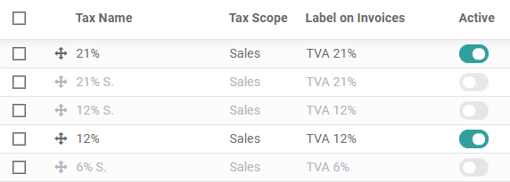 Activate pre-configured taxes in Odoo Accounting