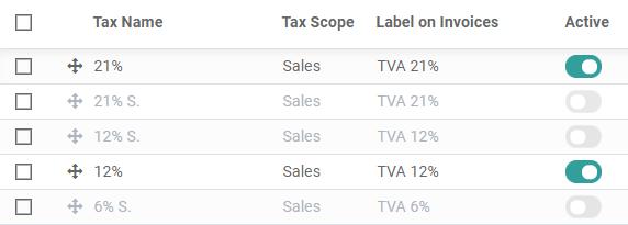 在Odoo Accounting中激活预配置的税收