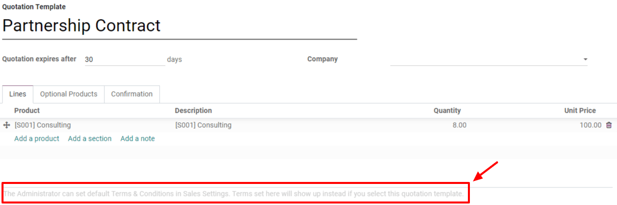 Add Default Terms & Conditions to your quotation templates on Odoo Sales