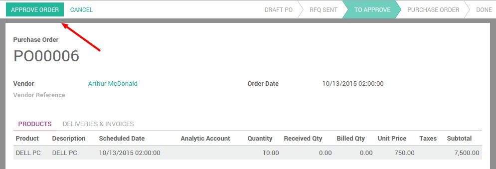 how to create purchase order odoo