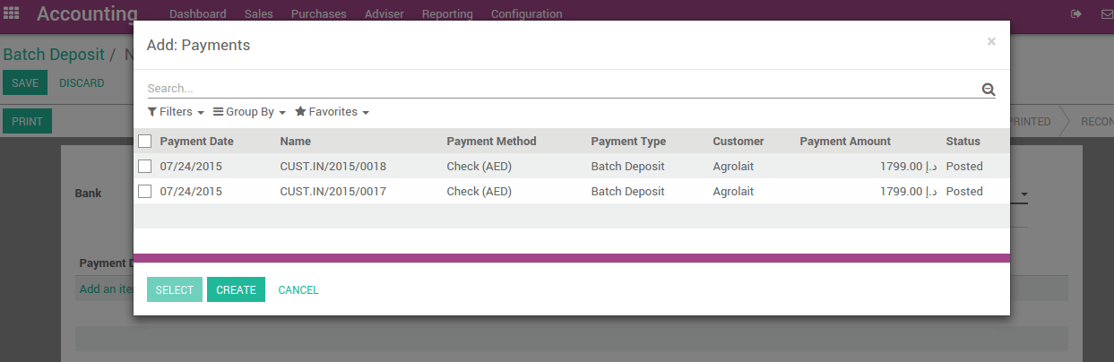 How to manage batch deposits of checks? — Odoo 9 0 documentation