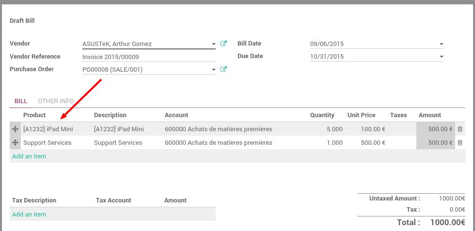 how to control supplier bills odoo 9 0 documentation