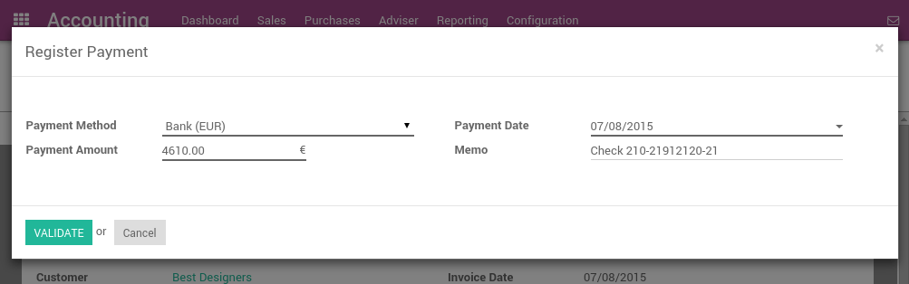 How To Register Customer Payments By Checks Odoo Documentation - Send invoice to customer journal entry