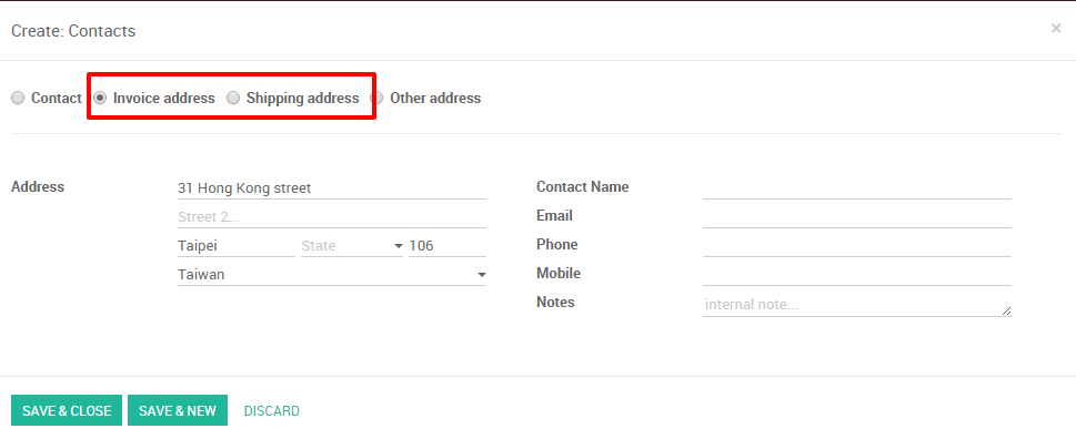how to use different invoice and delivery addresses odoo 9 0