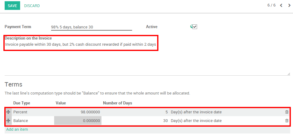 How To Setup Cash Discounts Odoo Documentation - Invoice 30 day terms