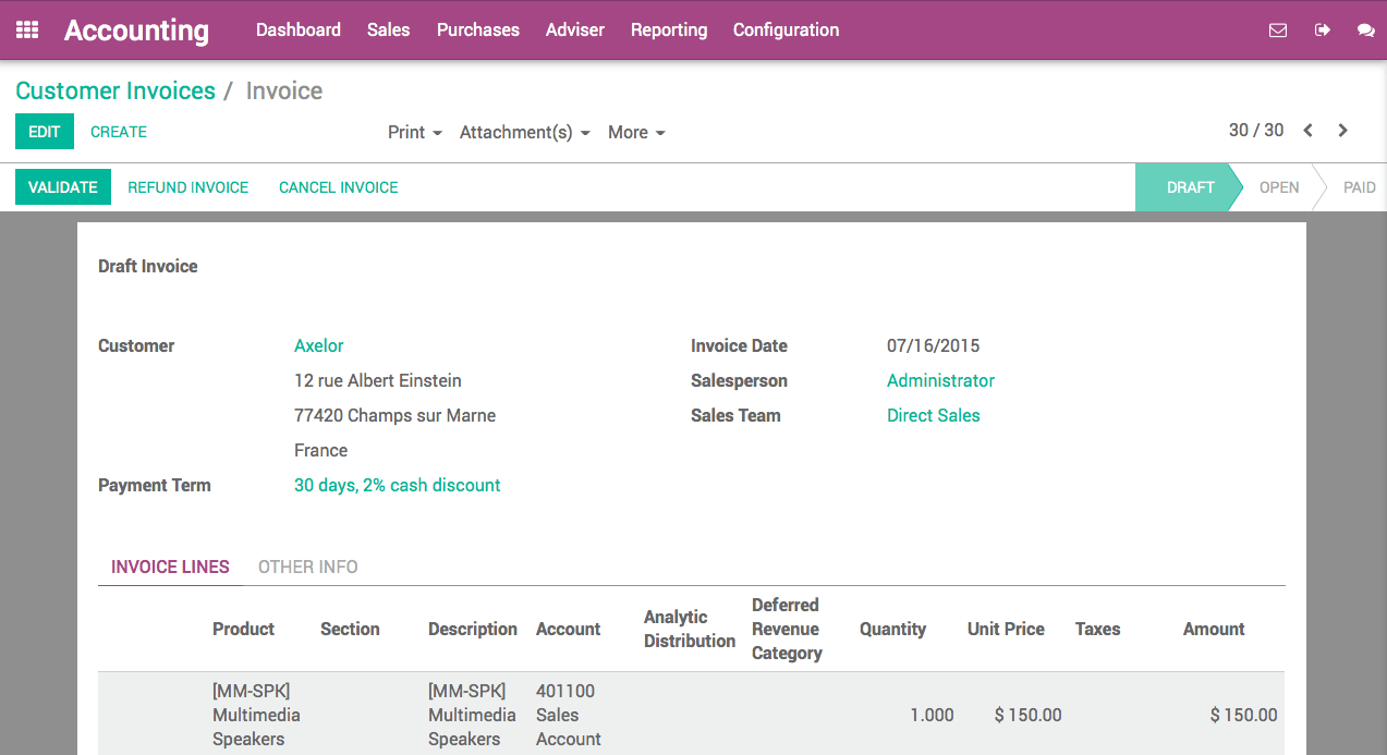 How To Setup Cash Discounts Odoo Documentation - Create paid invoice