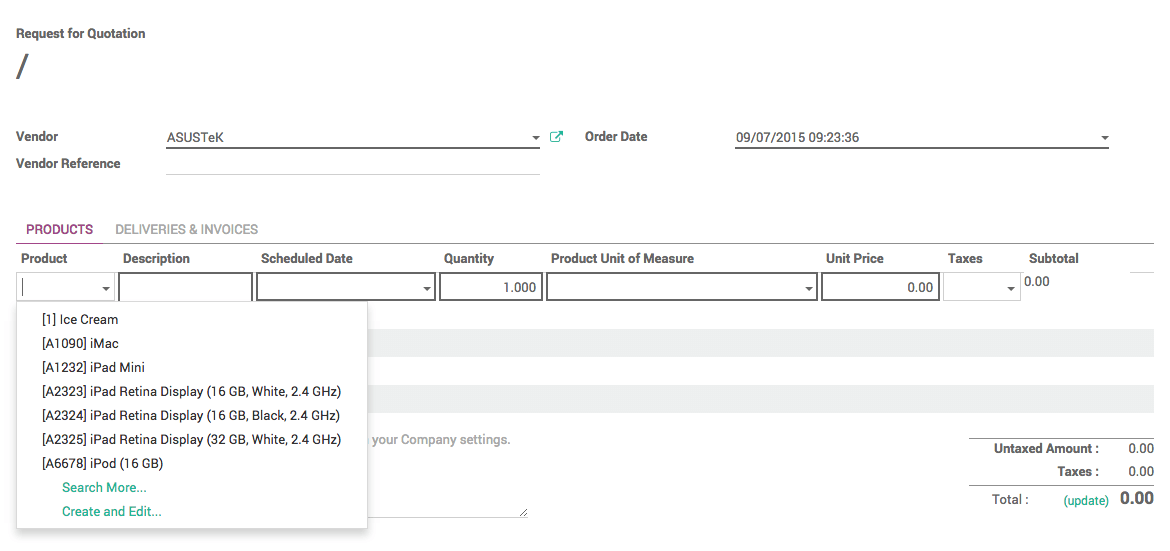 From Purchase Order To Invoice And Receptions Odoo Documentation - Order invoice