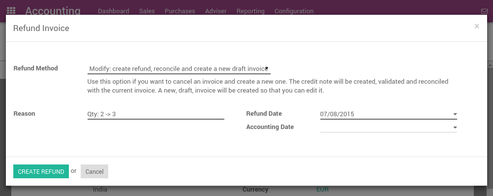how to edit or refund an invoice odoo 9 0 documentation
