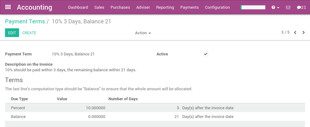 How To Define An Installment Plan On Customer Invoices Odoo - Invoice 50