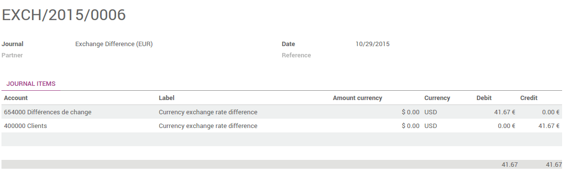 How To Manage Invoices Payment In Multiple Currencies Odoo - Invoice journal entry example