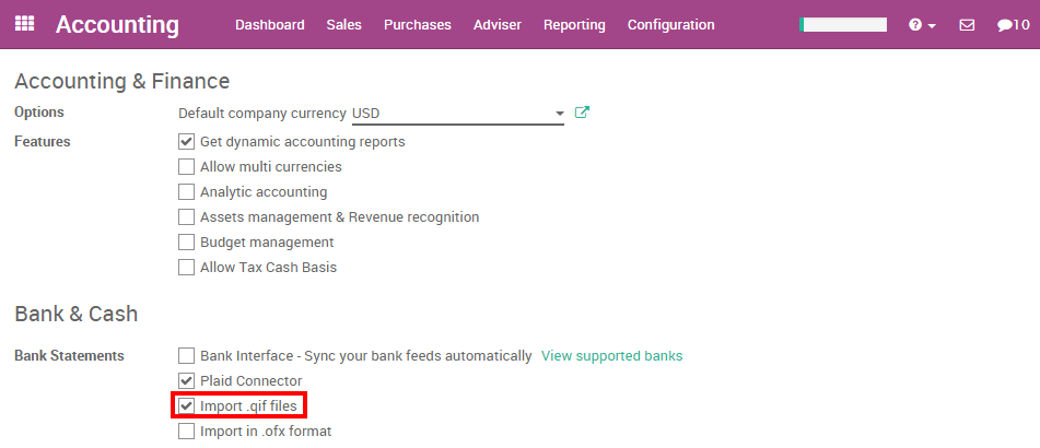 Import qif statement files odoo 90 documentation from the accounting settings check the bank statements option import in qif format and apply spiritdancerdesigns Image collections