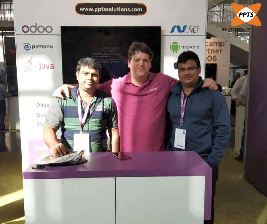 Team PPTS with Fabien Pinckaers, CEO of Odoo