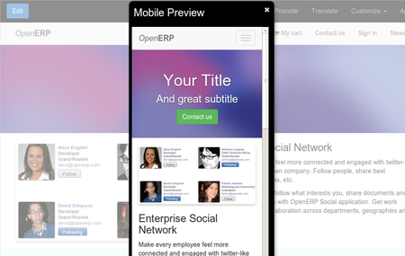 Odoo CMS - Mobile Friendly